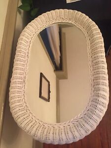 Vintage RARE 1960's Extra Large Oval white Wicker Mirror ...