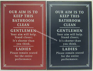 New-Novelty-Funny-Tin-Wall-Sign-Our-Aim-is-to-Keep-This-Bathroom-Clean-2-Styles
