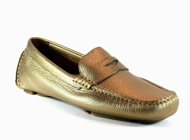 8974b6427d1 Cole Haan Trillby Driver Moccasin Metallic Gold Leather Penny Loafer Flat  5.5