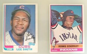 Lot of 2 Relief Pitcher HOF Dennis Eckersley 1976 Lee Smith Topps Rookie Cards