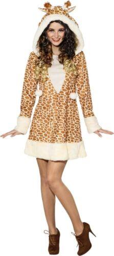 Damen Kostüm Giraffe Kleid mit Kapuze Karneval Fasching Orl