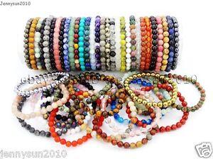 Handmade-6-mm-Mixed-Natural-Gemstone-Round-Beads-Stretch-Bracelet-Guerison-Reiki