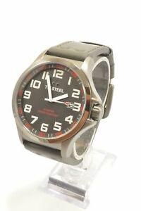 TW-Steel-TW421-Pilot-Grey-Dial-Titanium-PVD-Leather-Strap-Men-039-s-Watch