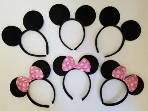12 PC MICKEY MINNIE MOUSE EARS HEADBANDS BLACK RED//PINK BOW PARTY FAVORS COSTUME