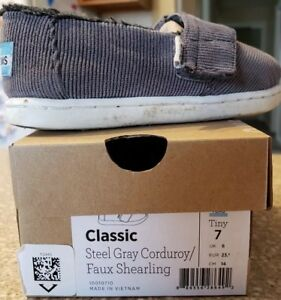 3e7a023a0d851a Tiny Toms Steel Gray Grey Corduroy Faux Shearling slip on shoes US ...