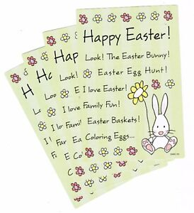 4 Sheets Easter Scrapbook Stickers Bunny Flowers Titles Quotes