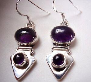 Amethyst-Double-Gem-Stone-Dangle-925-Sterling-Silver-Drop-Earrings-Oval-Round