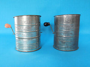 one with black handle one with red handle one is 2 cup slide handle sifter made USA Sifters vintage lot of 3 two are Bromwell 3 cup sifters