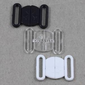 2-BIKINI-CLIPS-HOOK-amp-SNAP-PLASTIC-CLASPS-SWIMWEAR-BRA-STRAP-14mm-HABERDASHERY