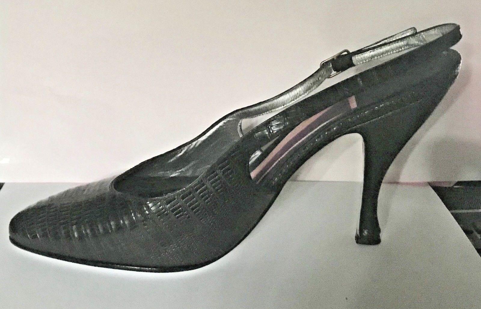 New Susan Bennis Dark Navy- Black Snakeskin Open Sides Back 8 1 2 B Run Small