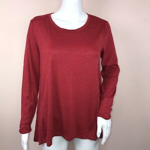4e795550d23 Style Co Petite Small Top NEW Red Sparkly Long Sleeve Scoop Neck ...