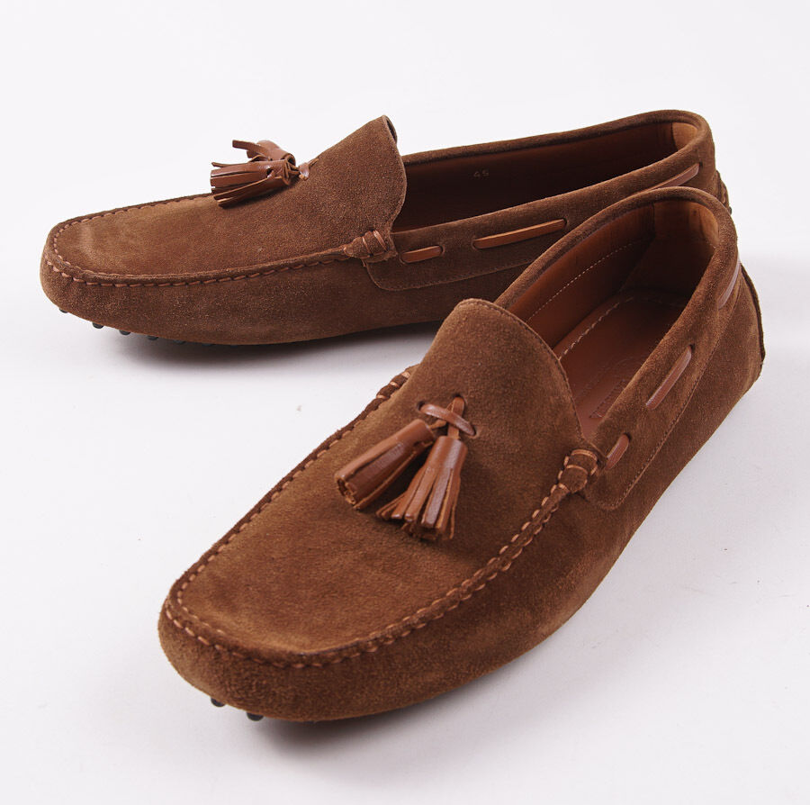 NIB 545 LUCIANO BARBERA Brown Calf Suede Driving Loafers 12 D Shoes Moccasins
