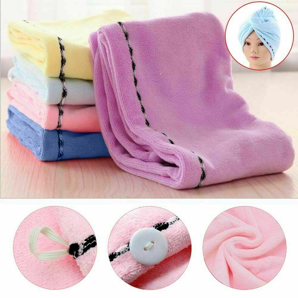 5PCS Rapid Fast Drying Hair Absorbent Towel Turban Wrap Soft Shower Bath Cap Hat