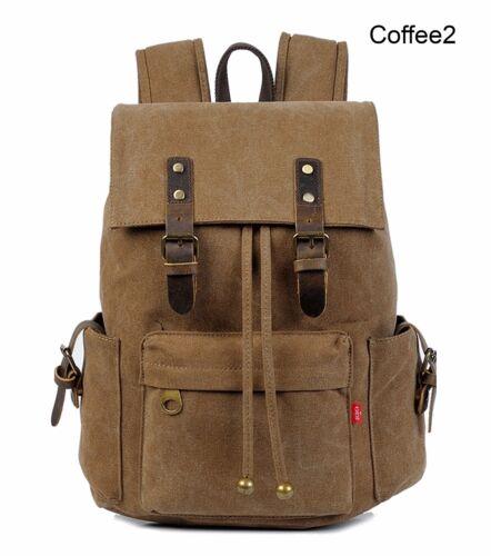 Men Women Travel Canvas Backpack Rucksack Camping Laptop Hiking School Book Bag