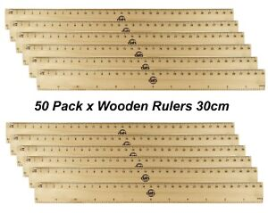 Details About Bulk 50 Pack X 30cm Wooden Rulers 12 Inch Metric Imperial Timber
