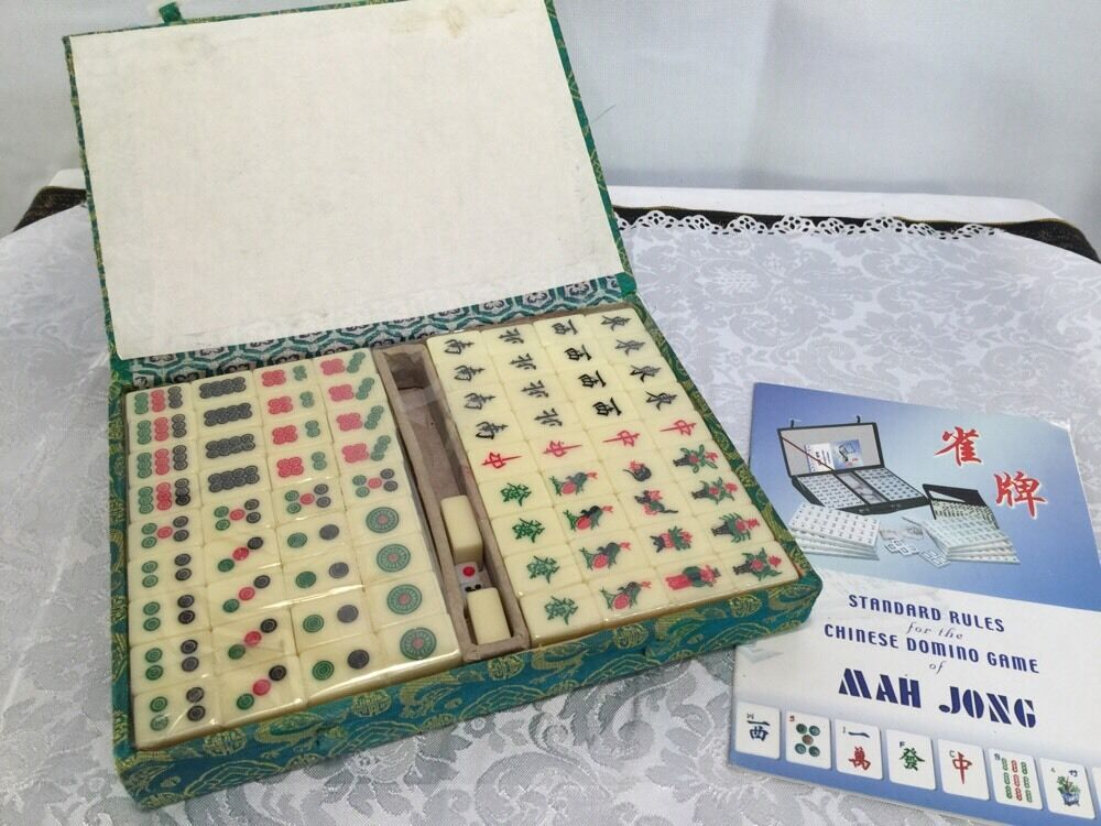 Vintage Mah Jong Tiles With Dice And Silk Coverot Box And Original Instruction