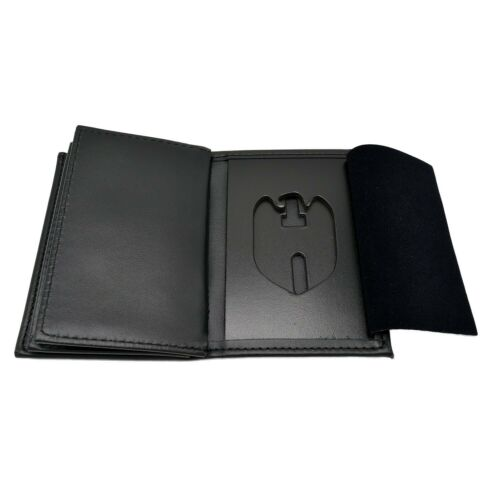 NCIS Police Badge 2 ID Leather Shield Wallet Mens Black Federal Style