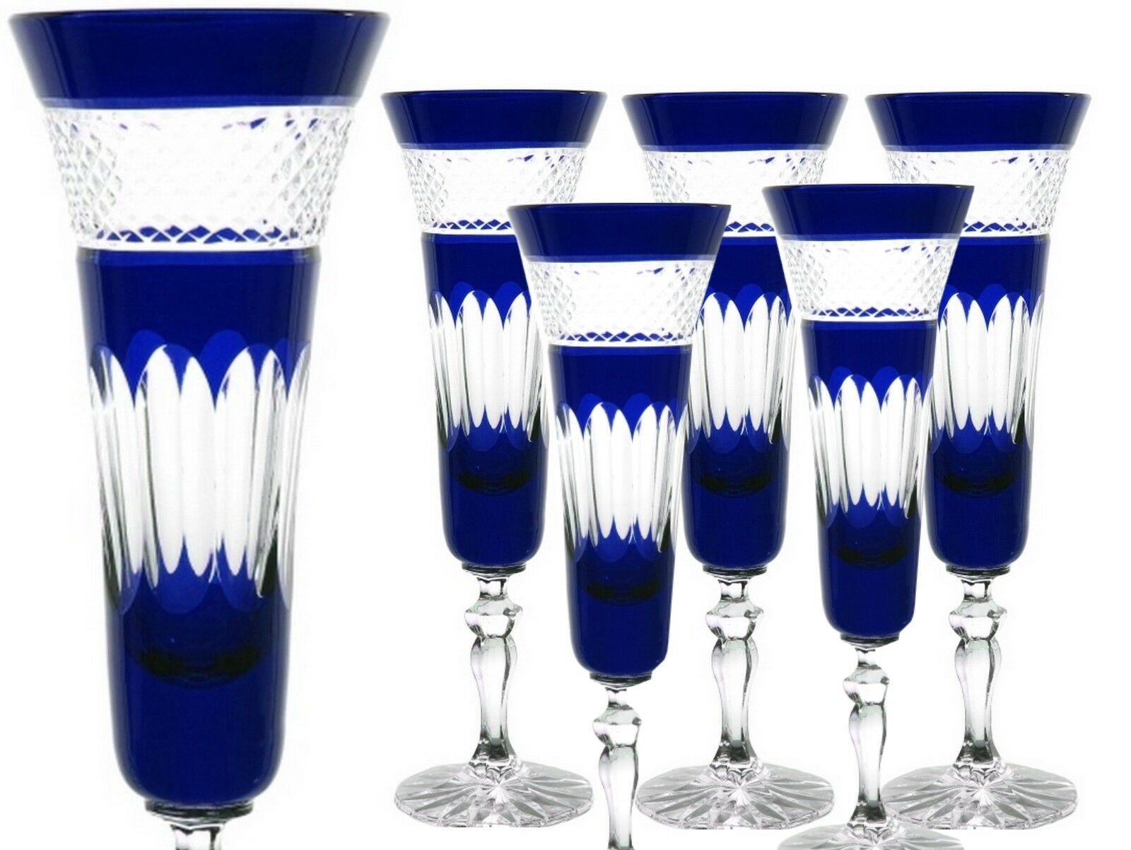Bleikristall romains à champagne 6 ST (443obg-b) Bleu furent. CRISTAL à champagne