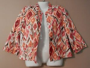 Womens-CHICO-039-S-Multi-Colored-Open-Front-Jacket-Size-2-Large-3-4-Sleeve-Artsy