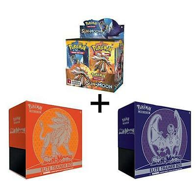 POKEMON TCG SUN AND MOON BOOSTER SEALED BOX + BOTH ELITE TRAINER BOXES