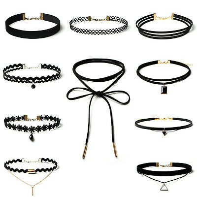 10 Pieces Choker Necklaces Black Classic Velvet Stretch Gothic Tattoo Necklace