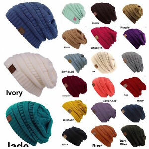 Men Women Plain CC Beanie Cap Slouch Bubble Knit Winter Ski Gift ... f9cb5d73f63f