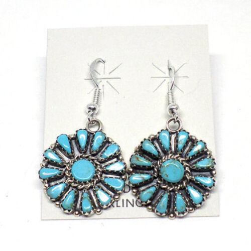 Handmade Native American Navajo Sterling Silver Turquoise Earrings