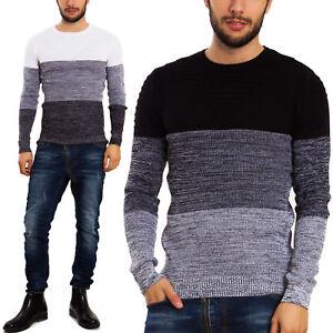 Maglione-uomo-pullover-pull-basic-girocollo-maniche-lunghe-casual-righe-DC021