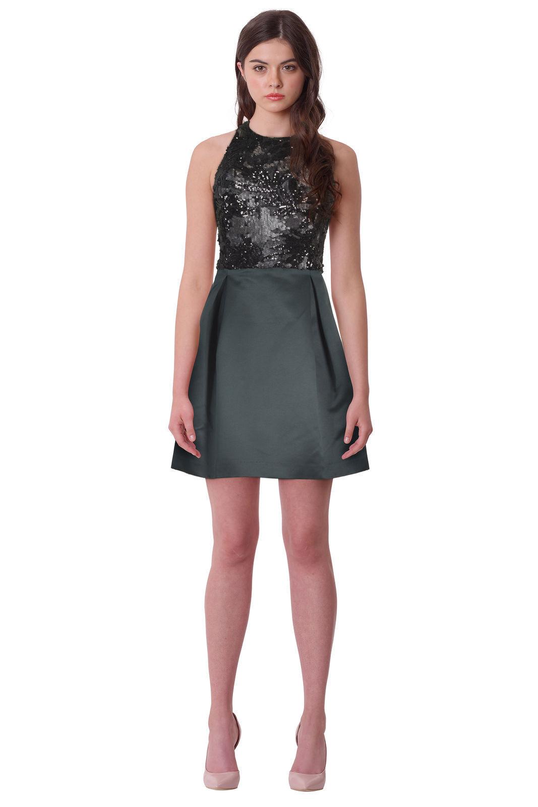 NWT Lauren Ralph Lauren Beaded-Bodice Satin Dress [SZ 14]  N827