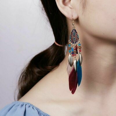 Bohemia Jewelry Boho Beads Feather Hook Drop Dangle Earrings Women Holiday gift