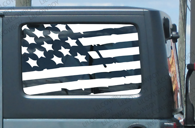 Distressed USA flag Tailgate vinyl sticker decal Fits Jeep Tundra Ford 17S10