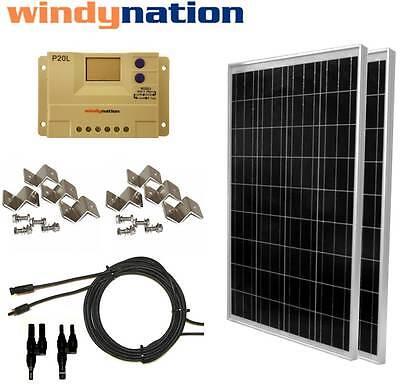 200 Watt (2pcs 100W) Solar Panel Kit 12V 24V w/ LCD Charge Controller RV, Boat