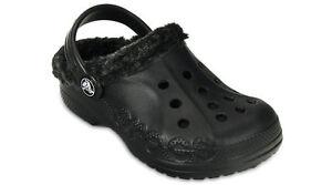 cfa2cf0060 Image is loading Crocs-Baya-Lined-Black-Black-Fuzzy-Crocs-Boys-