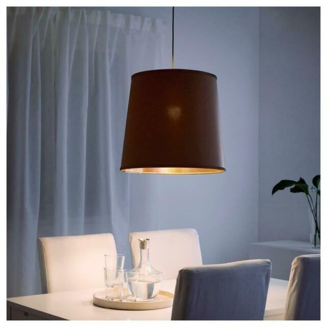 IKEA SUNNEMO LAMP SHADE BROWN//GOLD ZIPPED 502.950.47 //SEKOND CORD SET NEW