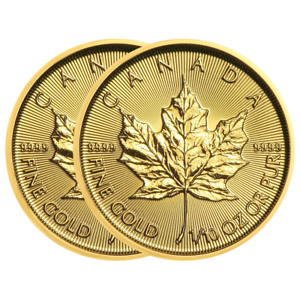 Lot-of-2-2018-5-Gold-Canadian-Maple-Leaf-9999-1-10-oz-Brilliant-Uncirculated
