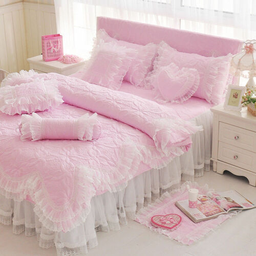 Princess Style Bedding Set 4pc Duvet Cover Bed Skirt Lace Pillowcases Wedding B6