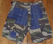Polo Ralph Lauren Camo Cargo Shorts 2 Tone Indigo Patchwork Men's 34 RRL STYLE