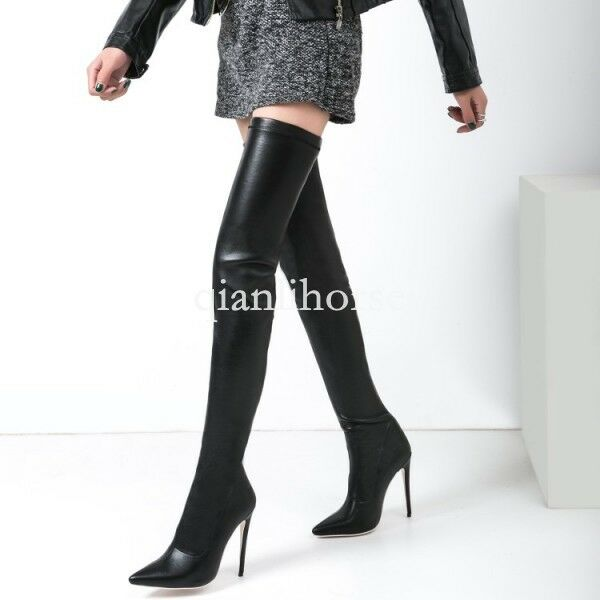 women pointy toes over the knee thigh high boots high heel slim nightclub shoes