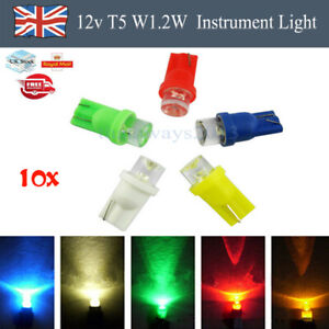 10X T5 5050 LED W1.2W Car Interior Light Dashboard Warning Indicator Bulbs 12V