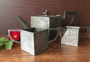 Antique-CASTLE-PEWTER-Art-amp-Crafts-CUBE-Hammered-Teapot-Jug-Sugar-Bowl