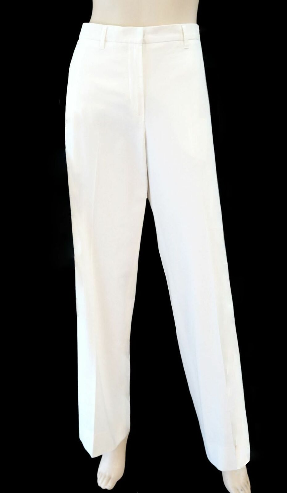 JIL SANDER Weiß Stretch Cotton Wide Leg Pants 44 US 12