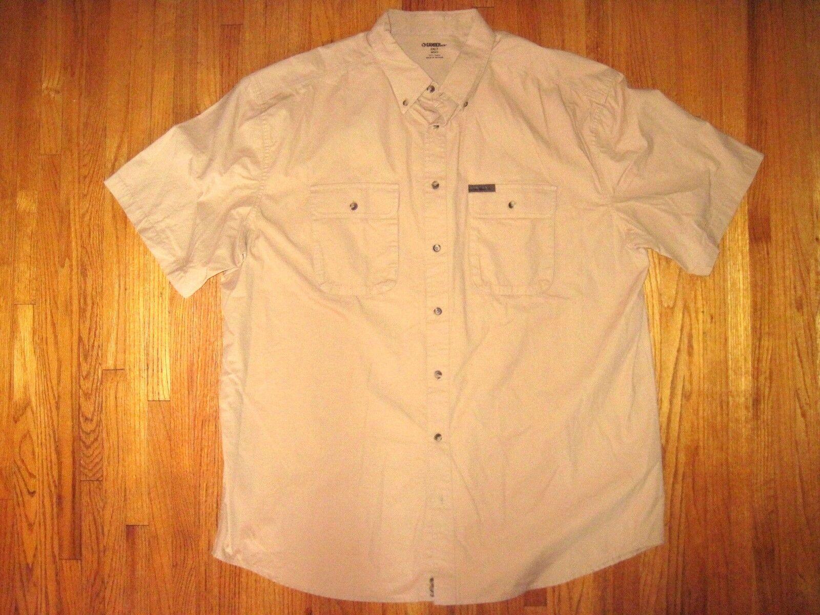 Big & Tall Gander Mt Khaki Heavy Cotton Short Sleeve Casual Shirt Size 2XLT New