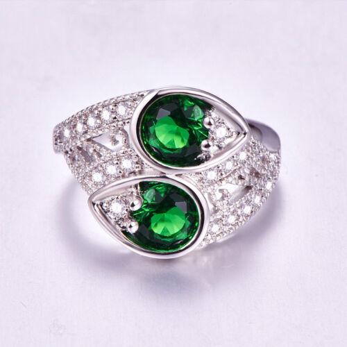 Damen-Ring ausgeprägte Sterling Silber 925 Edelstein Grün Emerald Topas