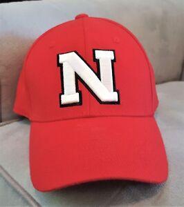 best service f3b31 7aa04 Image is loading Nebraska-Corn-HUSKERS-Red-Fitted-BASEBALL-HAT-CAP-
