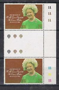 Falkland-Islands-1980-Queen-Mother-Birthday-Gutter-pair-with-controls-MNH