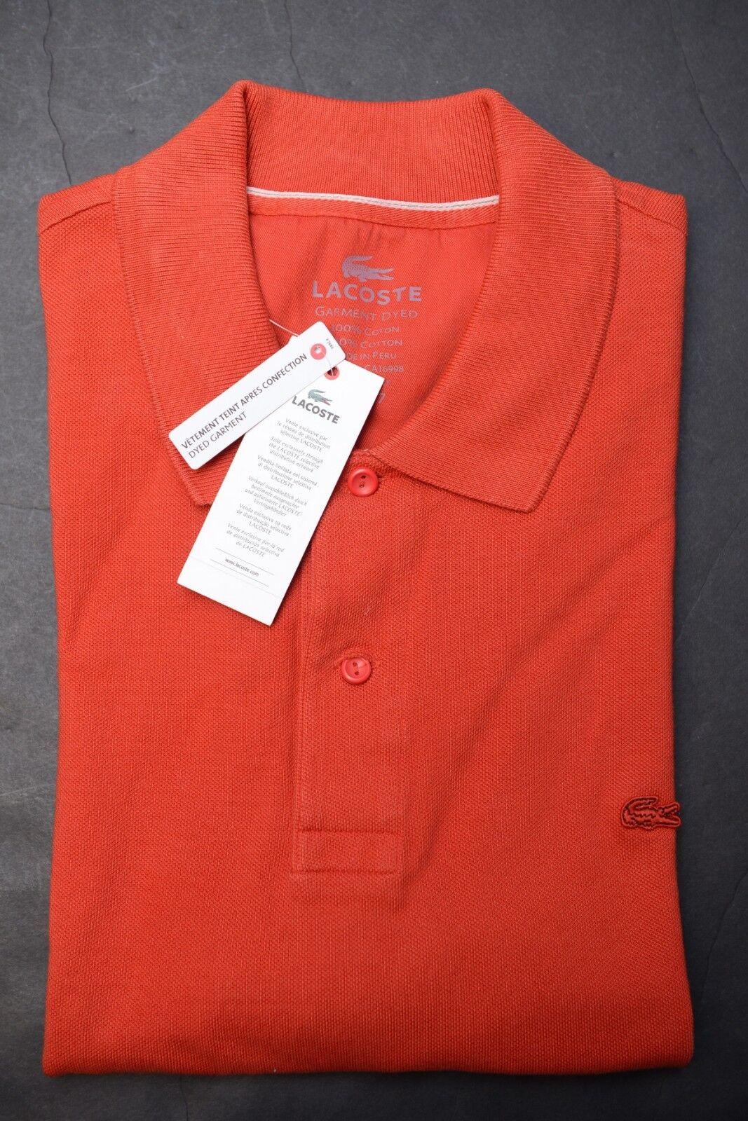 Lacoste Men's Regular Fit Dyed Garment Dark Red Mesh Cotton Polo Shirt 3XL 9
