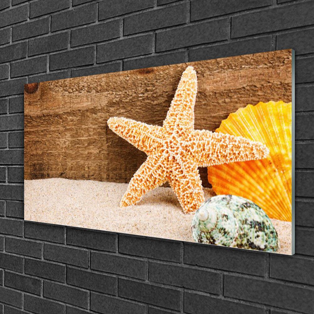 Glass print Wall art 100x50 Image Picture Sand Seastar Shells Art