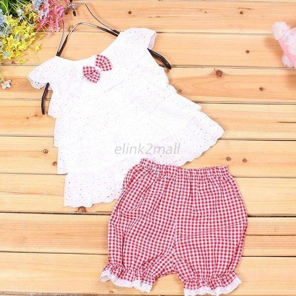 3 Sizes Baby Girl Kid Ruffled T-shirt Tops+ Shorts Suits 2pcs Outfit Clothes E56
