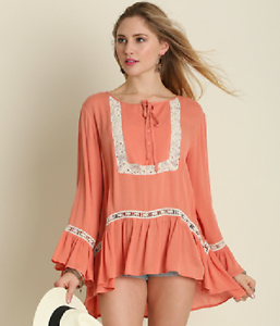 UMGEE-USA-Coral-Bell-Sleeve-Lace-Western-Boho-Top-Blouse-Womens-NWT-New-S-M-L
