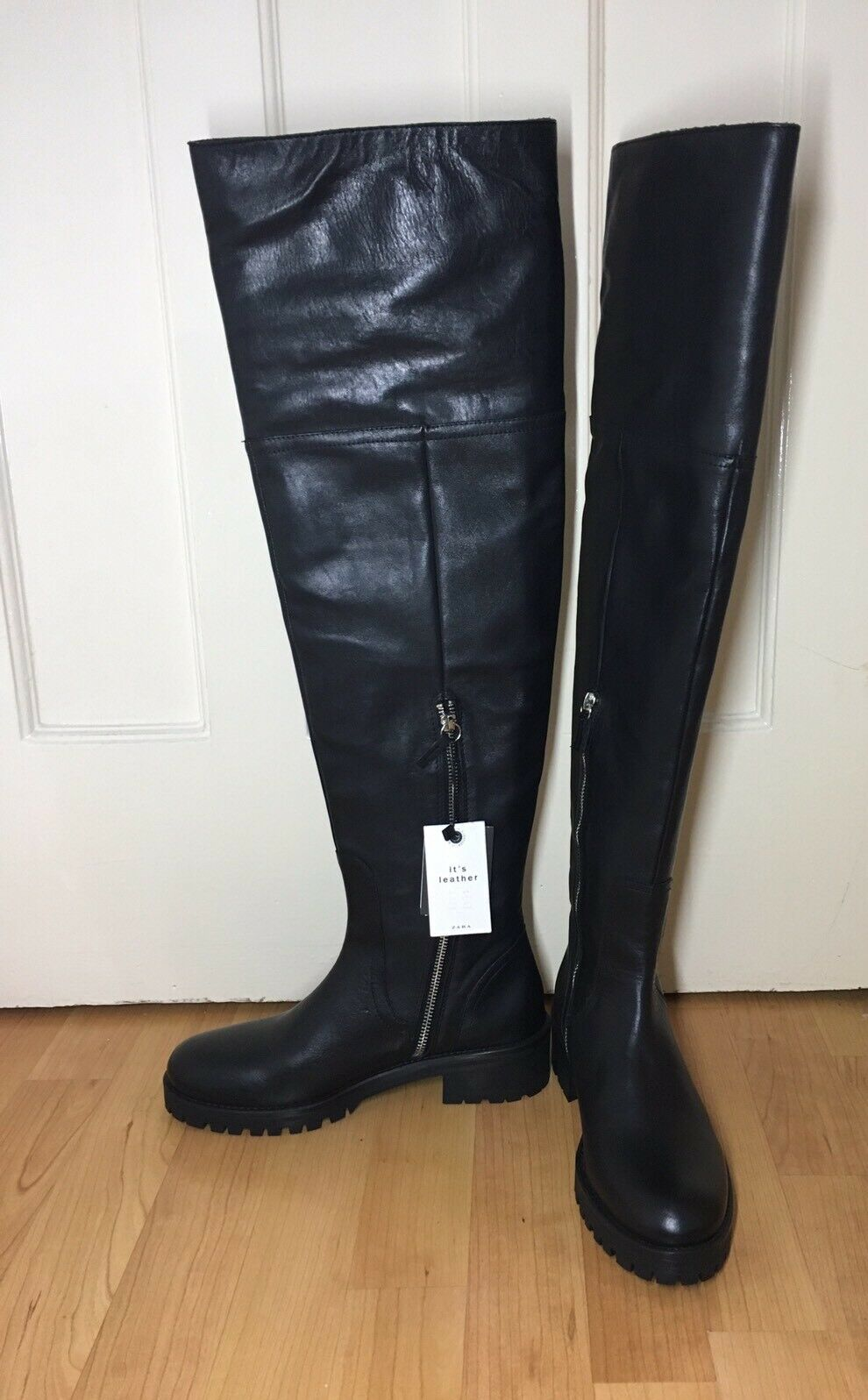 ZARA FLAT NEW BLACK REAL LEATHER OVER THE KNEE FLAT ZARA BUCKLE Stiefel SIZE 3 3277bb
